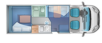 4 berth rear U lounge layout