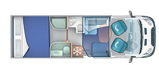 4 berth fixed rear double bed layout