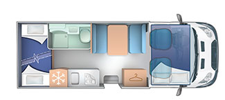 6 berth with rear bunk bed layout