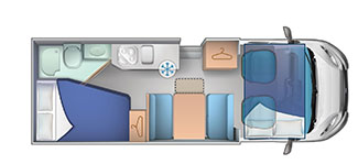 6 berth fixed rear double bed layout